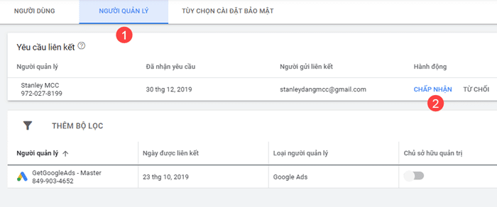 Liên kết tài khoản Google Ads hiện có với tài khoản MCC Client 1
