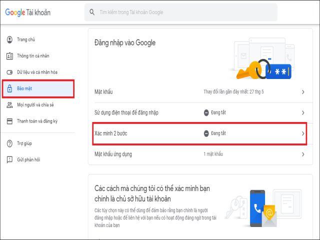 bật xác minh 2 bước cho tài khoản gmail