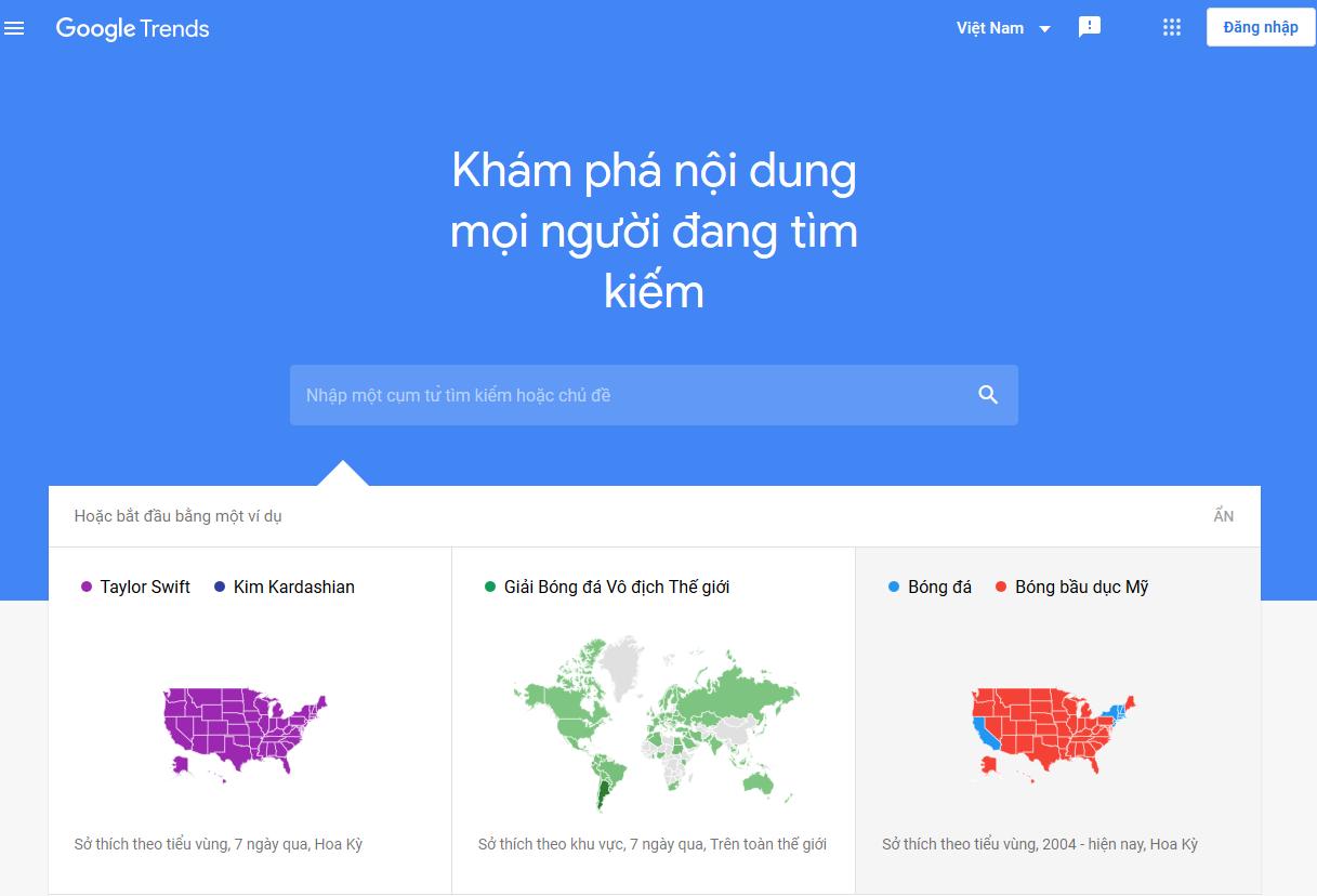 Cách sử dụng Google Trends visual (Top tìm kiếm Google hôm nay)