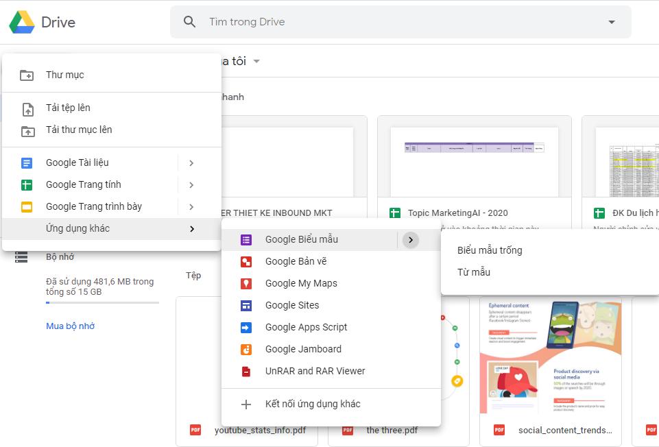 Tải Google Drive tạo bảng khảo sát và thu thập dữ liệu