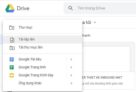 Cách sử dụng Google Drive tải tệp lên từ máy tính