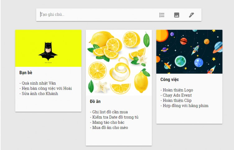 Biến Google Keep thành nhóm hình ảnh