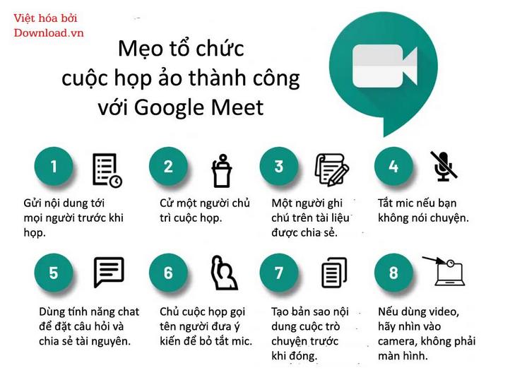 Một số lưu ý khi họp trực tuyến trên ứng dụng Google Meet