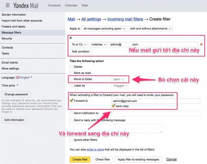 Tính năng tự động forward mail