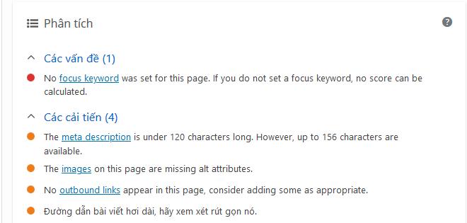 Kiểm tra Focus Keywords