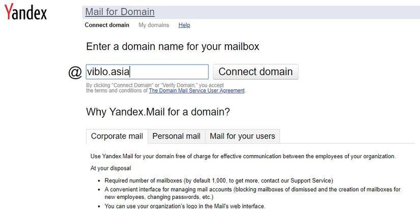 Thêm domain vào Yandex Mail
