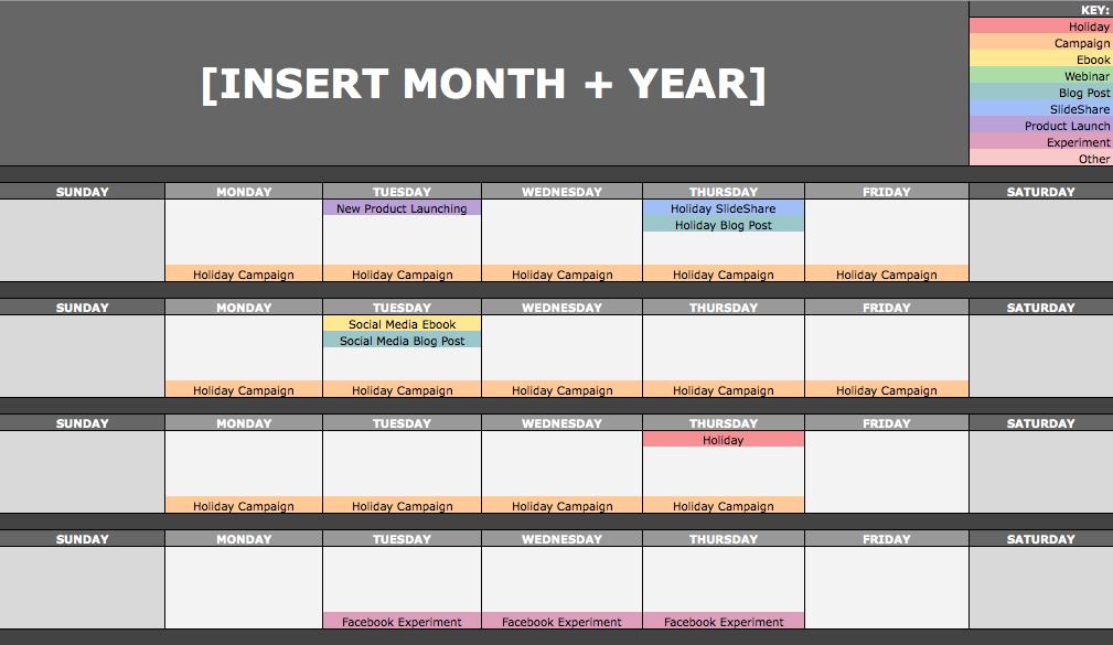 Mẫu content calendarsocial media hàng tháng