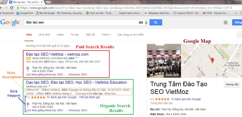 SERP khi người dùng tìm kiếm web