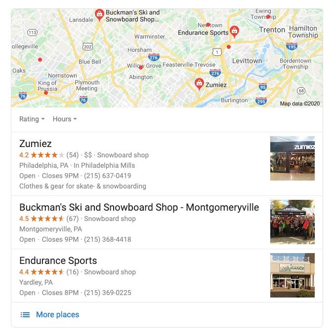 SERP khi trường hợp người dùng tìm kiếm bản đồ