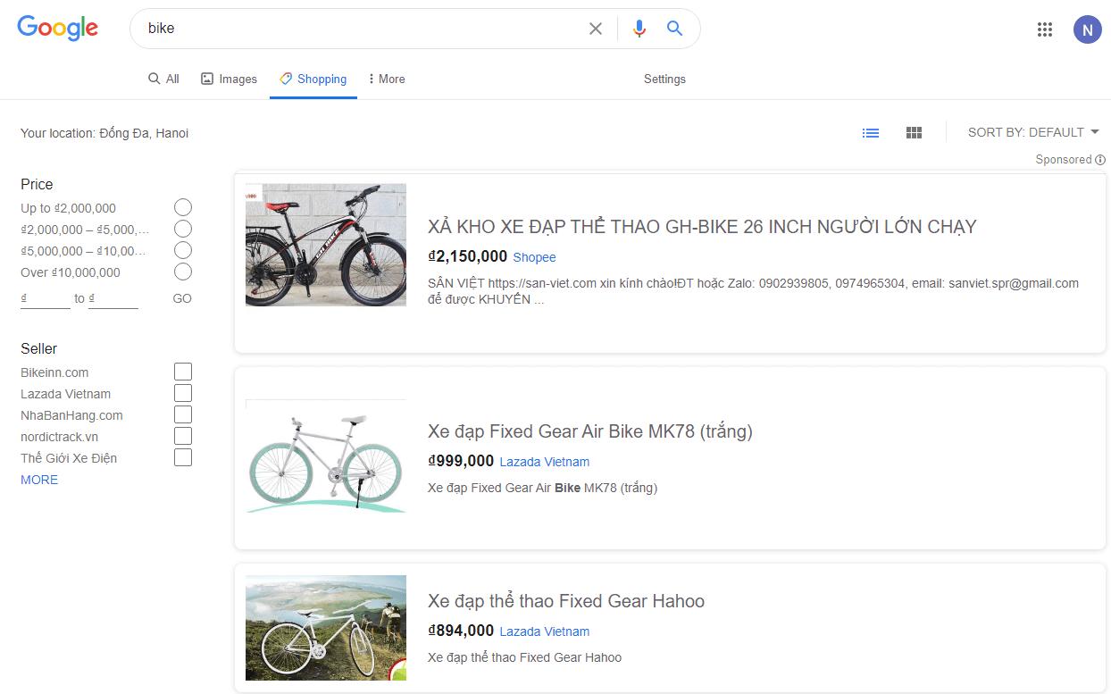 SERP đối với các truy vấn tìm kiếm mua sắm