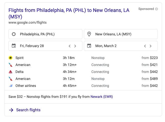 SERP đối với truy vấn tìm kiếm chuyến bay