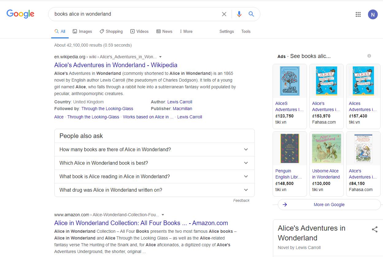 SERP khi người dùng truy vấn tìm kiếm sách