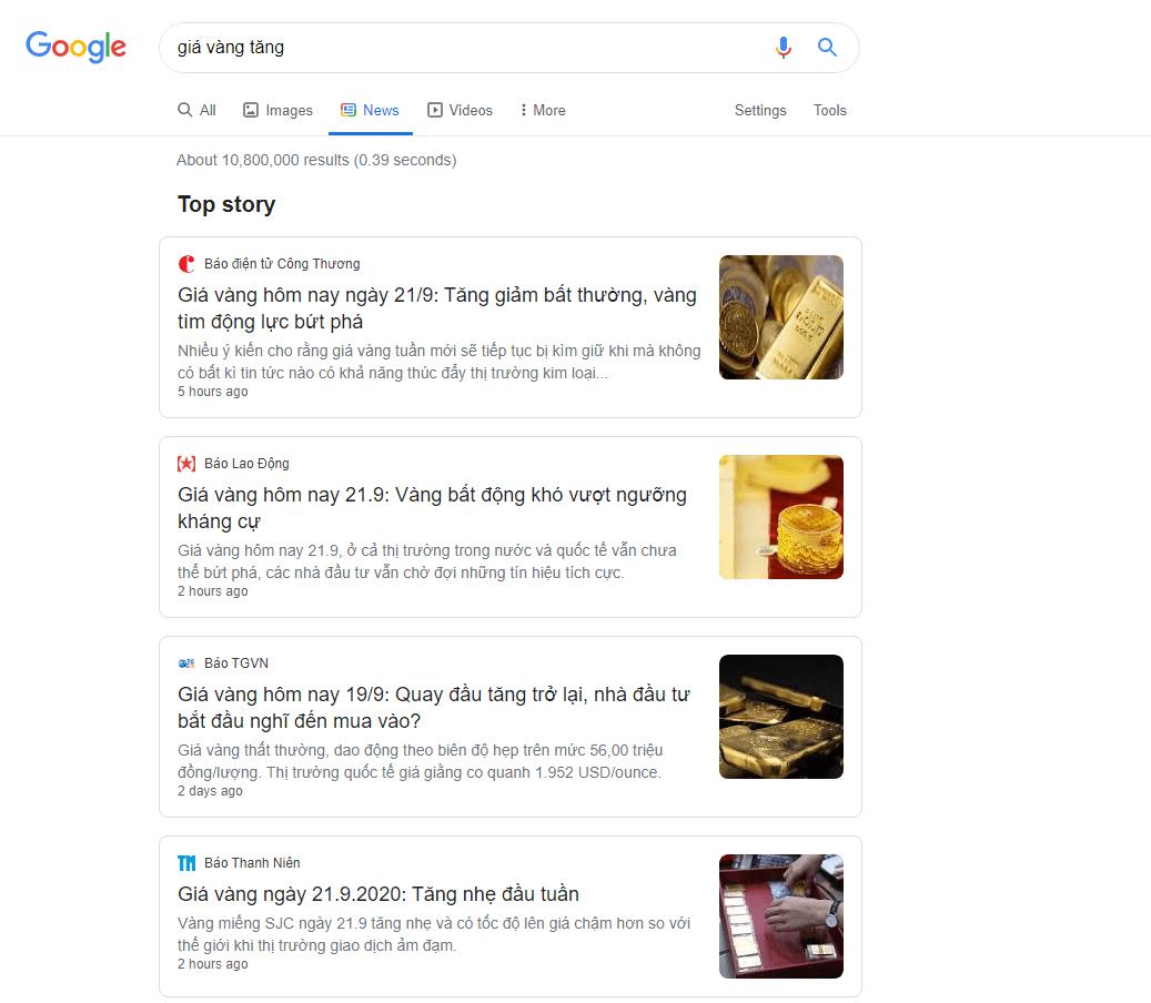 SERP khi người dùng truy vấn tìm kiếm tin tức