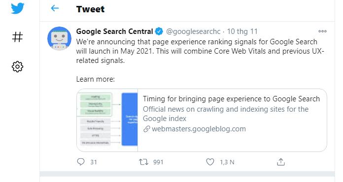 Google thong bao cap nhat moi tren Twitter