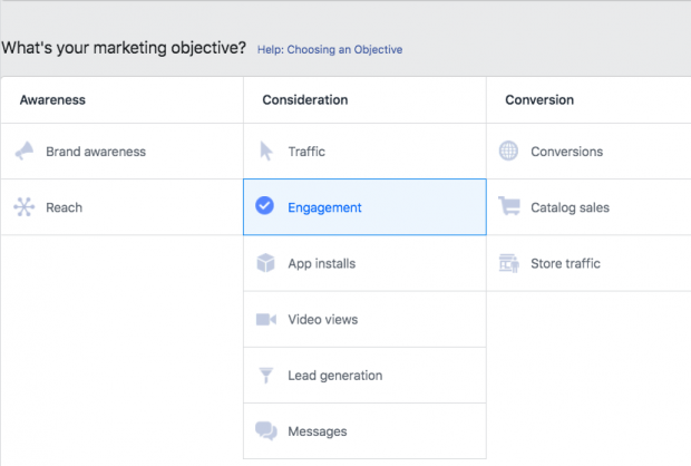 Cách chạy quảng cáo trên Facebook - Chọn mục tiêu