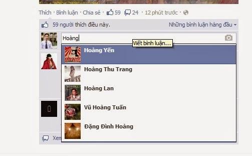 Ví dụ về tag tên trên faceboo