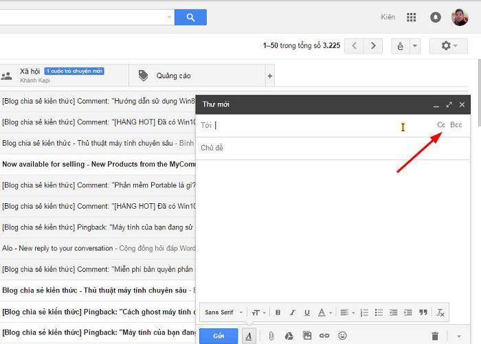 Cách gửi bcc trong mail